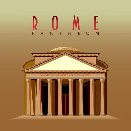 Pantheon building, Rome, Italy Handmade drawing vector illustration. Çizim