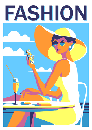 Girl with a phone on vacation. Summer poster. Handmade drawing vector illustration. Pop art minimalist style.