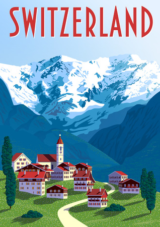 Switzerland Travel Poster. Handmade drawing vector illustration. Pop art vintage style. All objects are grouped into different layers.