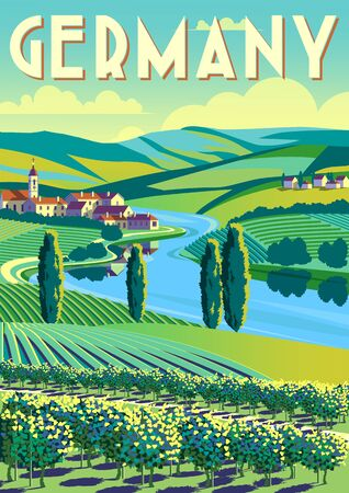 Romantic rural landscape in sunny day in Germany with vineyards, farms, meadows, fields and trees in the background. Handmade drawing vector illustration. Flat design. Poster in the Art Deco style. Çizim