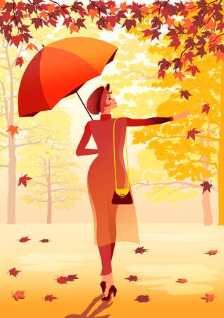 Girl with an umbrella walking in the autumn park. Handmade drawing vector illustration.