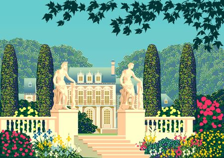 Flower garden near a country house with a statues and park on a sunny summer day.