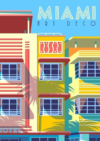 Sunny day in Miami, USA. Handmade drawing vector illustration. Çizim