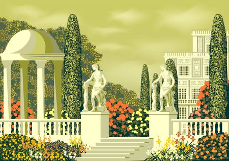 lower garden near a country house with a rotunda, statues and a Park on a Sunny summer day. Hand drawing vector illustration. Can be used for books, illustrations.