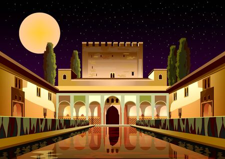 Courtyard of the Myrtles in La Alhambra Palace by night in Granada, Spain.
