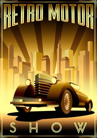 Retro Car Motor Show Vintage Poster with retro car in the first plan and city in the background.