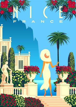 Woman on vacation on French Riviera coast. Illustration