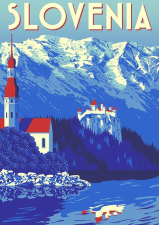 Travel Poster of Slovenia with traditional village in first plan and mountains in the background.