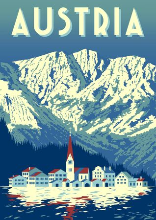 Travel Poster of Austria with traditional village in first plan and mountains in the background. Banco de Imagens - 131463819