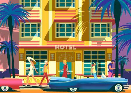 Street scene on a sunny summer dayin Miami beach, Florida, USA.  イラスト・ベクター素材