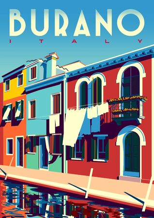 Sunny summer day in Burano, Italy, with canal and traditional houses. Çizim
