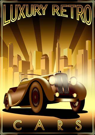 Luxury Retro Car Motor Shop Vintage Poster. Çizim