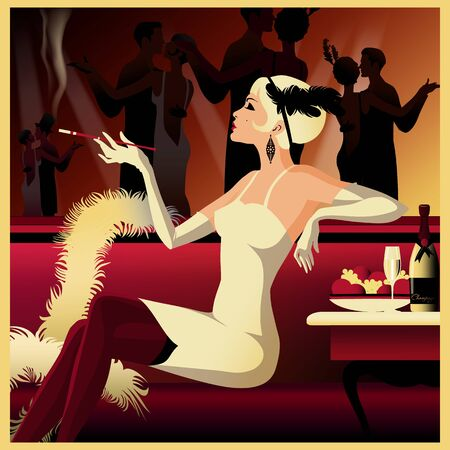Flapper girl in a restaurant in the style of the early 20th century.