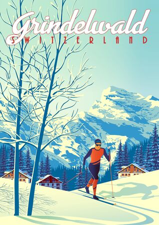 Grindelwald Travel Poster with with skier int the first plan, houses, forest and mountains in the background