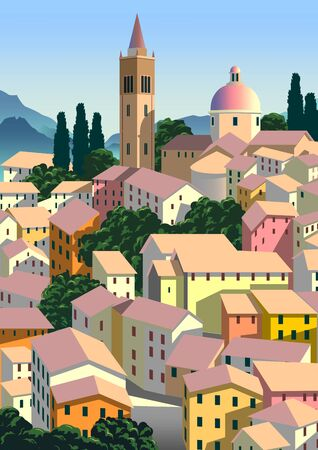 Romantic rural landscape in sunny day in Italy with small town and mountains in the background. Handmade drawing vector illustration. Flat design. Poster in the Art Deco style. 矢量图像