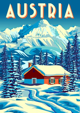 Winter landscape in an alpine village with a traditional alpine house with fir trees and mountains in the background. Handmade drawing vector illustration. Vintage style. Çizim