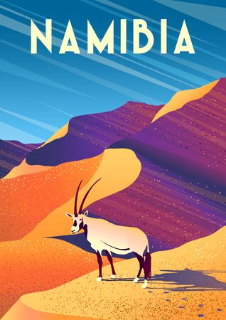 Travel poster of Namibia with an Oryx gazelle in the first plan and desert dunes in the background. Handmade drawing vector illustration. Retro style.