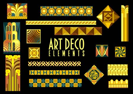 Vector Set of Art Deco Design Elements for scrapbook, web designs and other decorations. Vettoriali