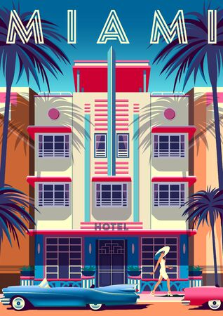Sunny day in Miami with hotel in Art Deco Style in the first plan.