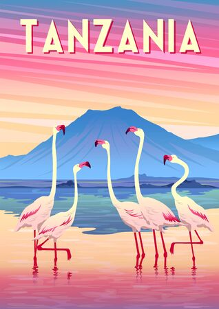 Travel poster of Tanzania with flamingoes in the lake in the first plan and mountains in the background. Illustration