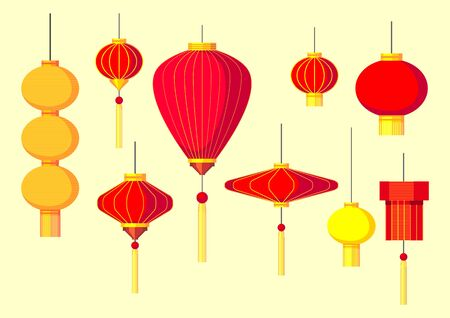 Vector Set of Chinese and chinatown festival papers lanterns.