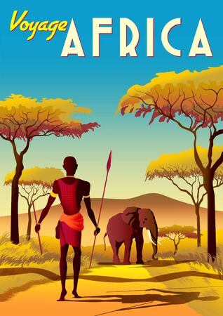Africa travel poster with a masai warrior in the first plan and elephant and savannah in the background. Vettoriali