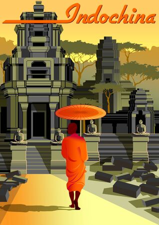Monk with an umbrella on the road to a Buddhist temple in Indochina. Handmade drawing vector illustration. Retro style poster.