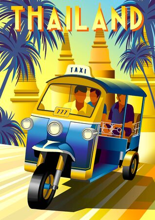 Tourists in a traditional Tuk Tuk taxi at a sightseeing tour in Thailand. Handmade drawing vector illustration. Retro poster. Archivio Fotografico - 137355137