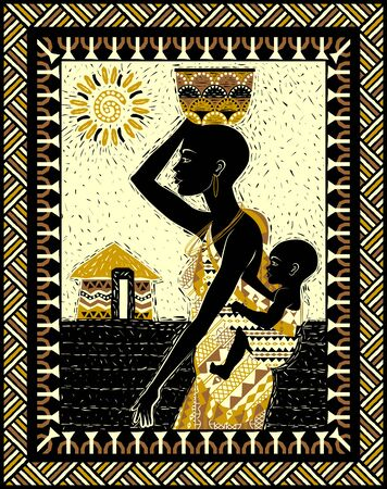 African woman in traditional dress with a baby on her back and a vessel on her head. Handmade drawing vector illustration. Tribal style poster. Vettoriali
