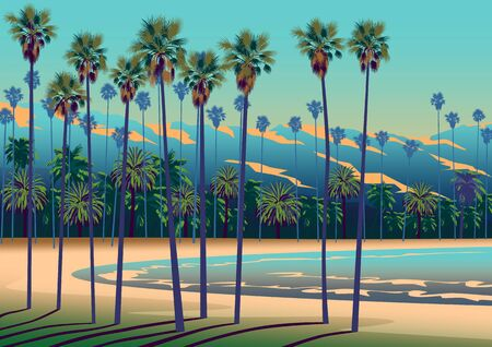A Tropical beach in California with palm trees, ocean, and mountains in the background.