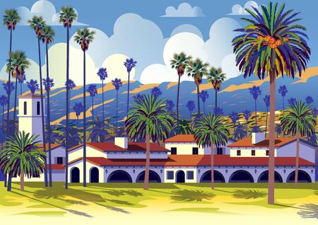 Californian cityscape with palm trees, houses and mountains in the background. Vettoriali