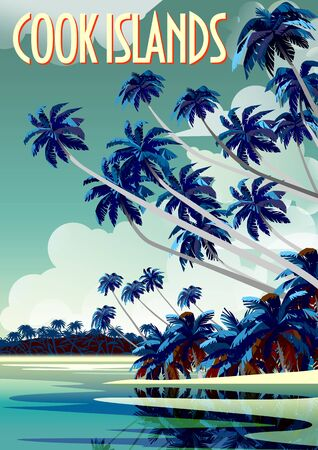 Tropical Beach Landscape in Cook Islands with lagoon, palm trees and island in the background. Handmade drawing vector illustration. All object are grouped into different layers. Vettoriali
