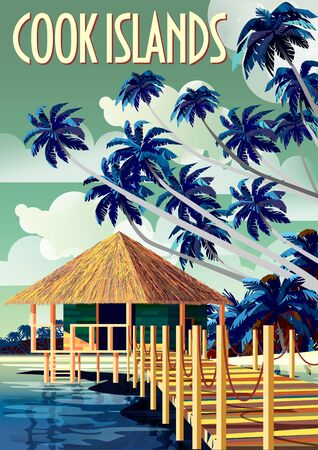 Tropical Beach Landscape in Cook Islands with traditional polynesian house and palm trees.