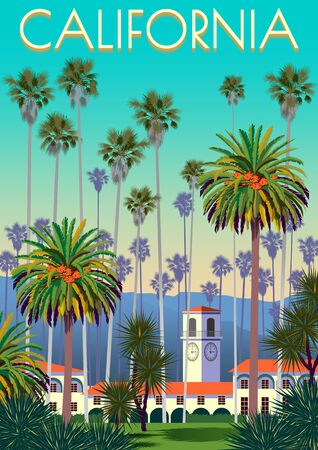 A city park in California with palm trees, yuccas, houses and mountains in the background. Handmade drawing vector illustration. Retro style Poster.