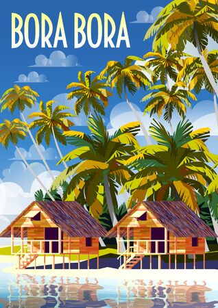 Polynesia Tropical Beach Landscape with traditional houses and palm trees.