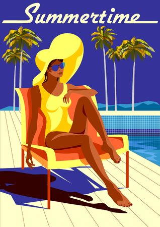 Young woman sunbathing on the pool edge. Handmade drawing vector illustration. Vintage style. Archivio Fotografico - 139672590