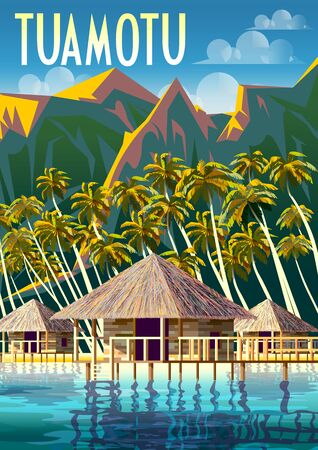 Polynesia Tropical Beach Landscape with traditional houses and palm trees. Archivio Fotografico - 139672591