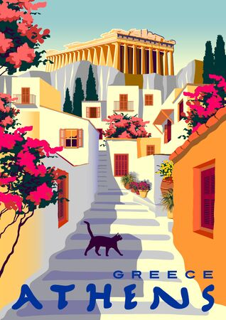 Summer cityscape with traditional houses and Acropolis in Athens, Greece. Handmade drawing vector illustration. Retro style poster.