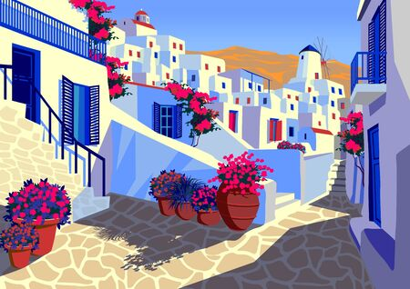 Summer cityscape with traditional houses on Mykonos island, Greece. Handmade drawing vector illustration. Retro style poster. Archivio Fotografico - 137917886