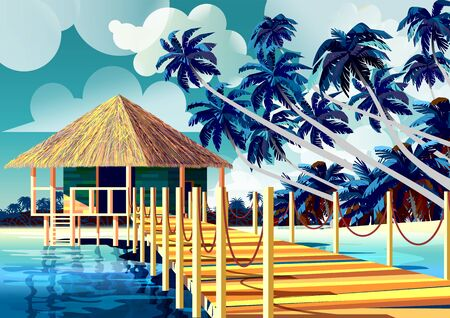 Polynesia Tropical Beach Landscape with traditional house and palm trees. Handmade drawing vector illustration. All object are grouped into different layers. Archivio Fotografico - 139672603