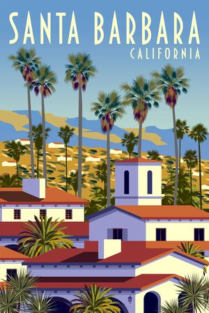 Californian cityscape with palm trees, houses and mountains in the background. Handmade drawing vector illustration. Retro style Poster. Vettoriali