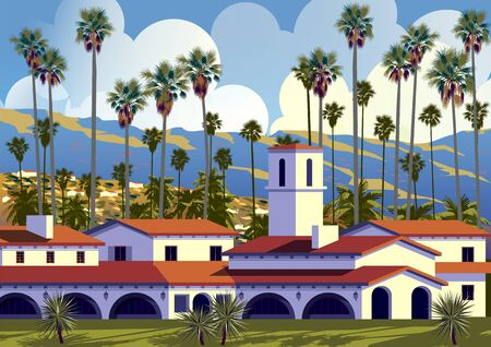 Californian cityscape with palm trees, houses and mountains in the background. Handmade drawing vector illustration. Retro style Poster. Archivio Fotografico - 137918724