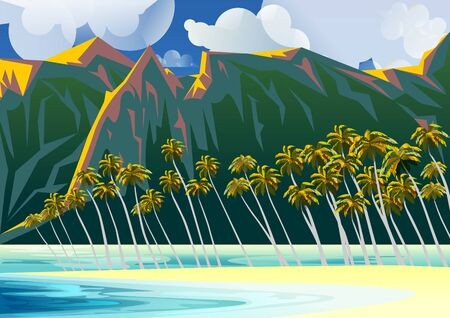 Tropical Beach Landscape with Lagoon, palm trees and mountains in the background. Handmade drawing vector illustration. Retro Poster. All object are grouped into different layers. Vettoriali