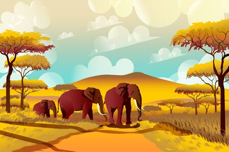 A group of elephants in the savannah against a background of acacias and mountains in a national park in Africa. Handmade drawing vector illustration.