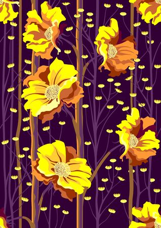 Handmade drawn seamless pattern with beautiful flowers and leaves.