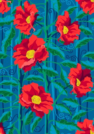 Hand drawn seamless pattern with beautiful flowers and leaves on blue background. Archivio Fotografico - 141329338