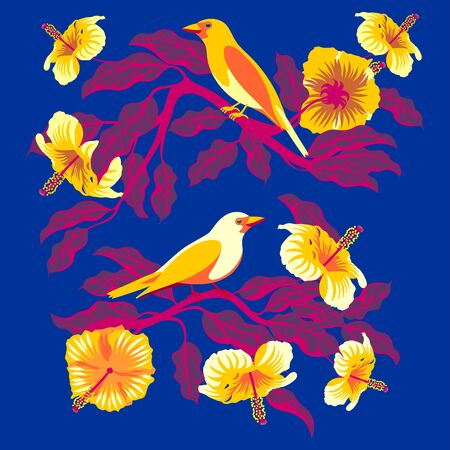 Bright tropical birds on branches with exotic flowers and leaves. Handmade drawing vector illustration.
