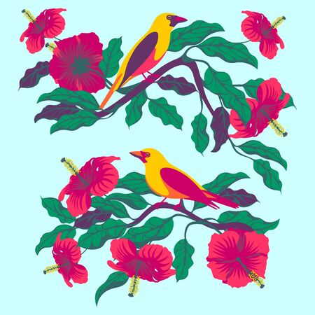 Bright tropical birds on branches with exotic flowers and leaves. Archivio Fotografico - 139859437