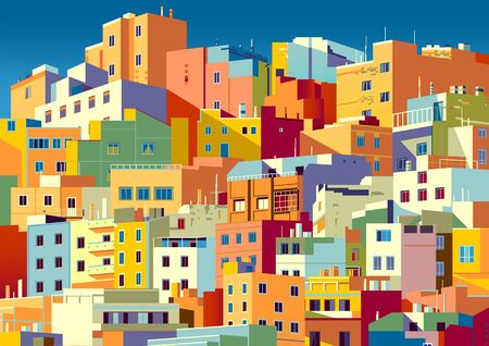 Traditional colorful houses in one of the areas of Las Palmas, Gran Canaria, Canary Islands. Handmade drawing vector illustration. Archivio Fotografico - 139859186