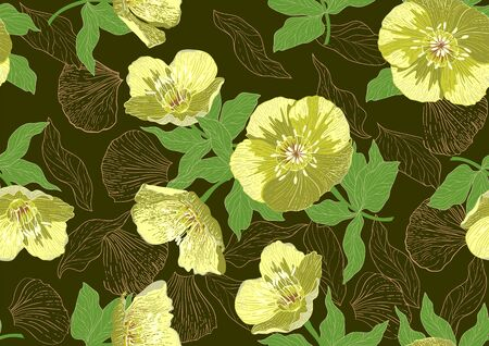 Hand drawn seamless pattern with beautiful flowers and leaves on dark khaki background. Vettoriali